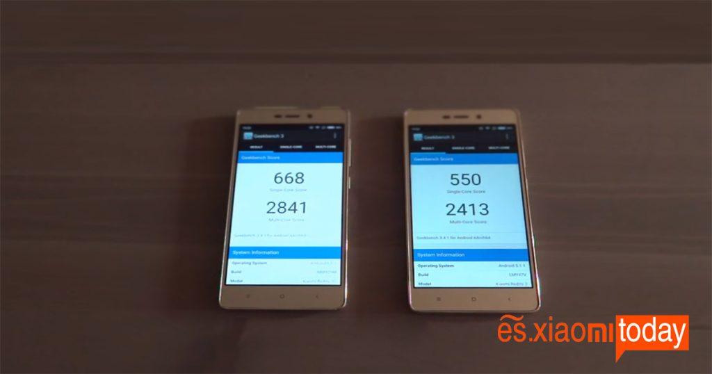 Xiaomi Redmi 3S comparacion con Redmi 3 en geekbench