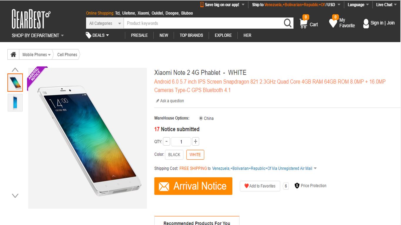 Xiaomi Mi Note 2 en Gearbest.com