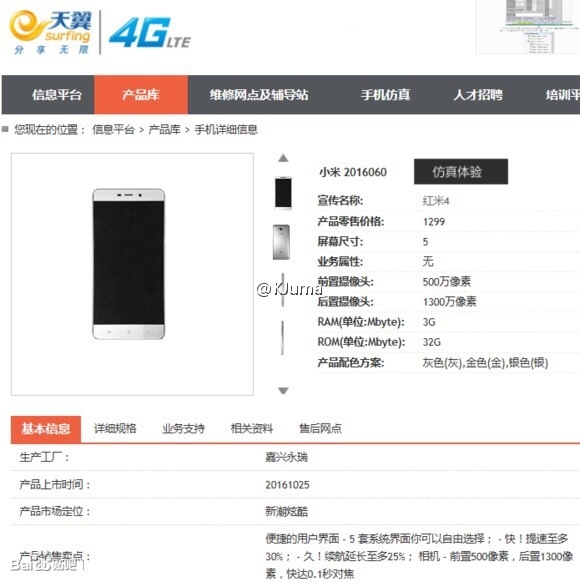 Xiaomi Redmi 4 telefono