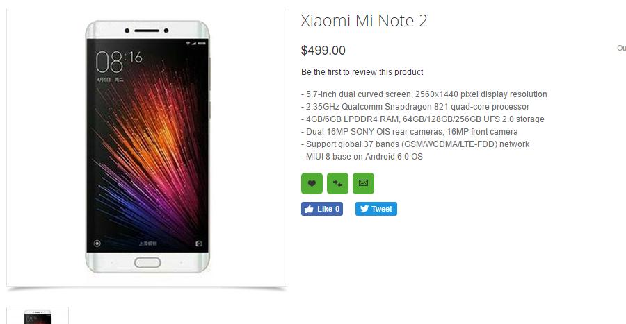 Xiaomi Mi Note 2 listado en Oppomart