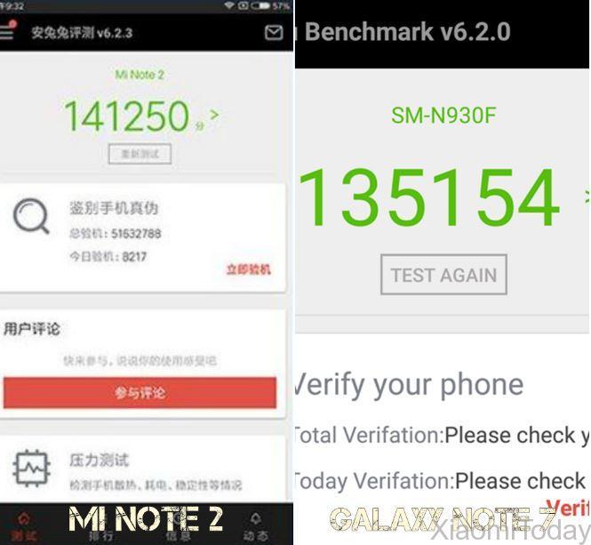 Samsung Galaxy Note 7 VS Xiaomi Mi Note 2 rendimiento