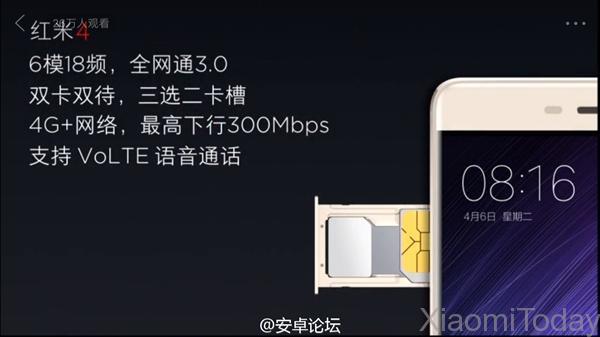 Xiaomi Redmi 4 conectividad 4G