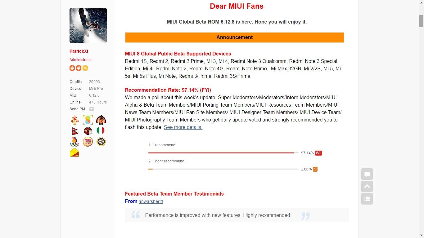 Beta Global de MIUI 8 ROM 6.12.8