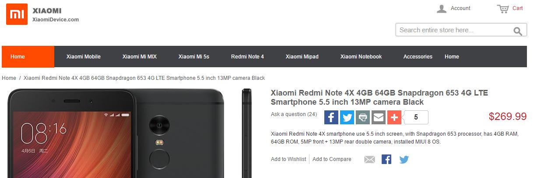 Xiaomi Redmi Note 4X listado en tienda