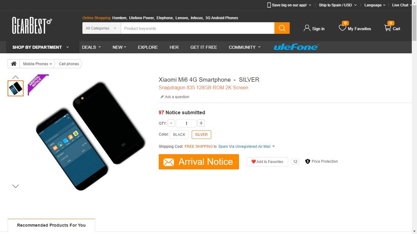 Xiaomi Mi 6 Listado en Gearbest.com