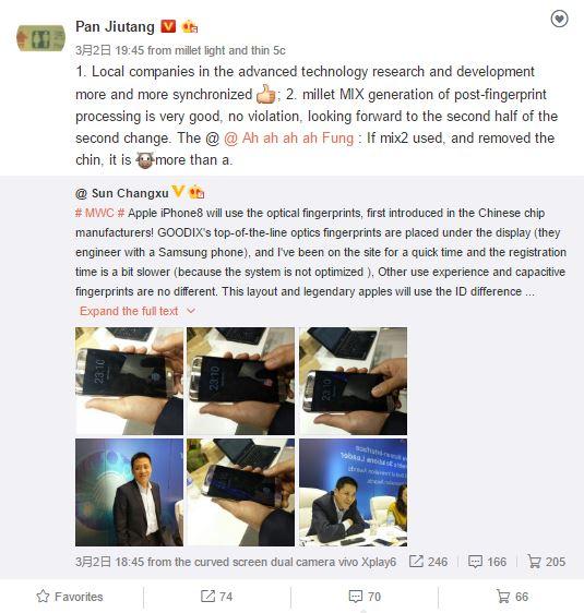 El post publicado por el analista Pan Jiutang sobre la serie MIX - Xiaomi Mi Mix 2