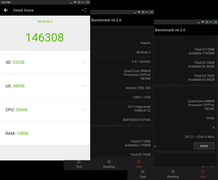 Xiaomi Mi Note 2 Bechmarks
