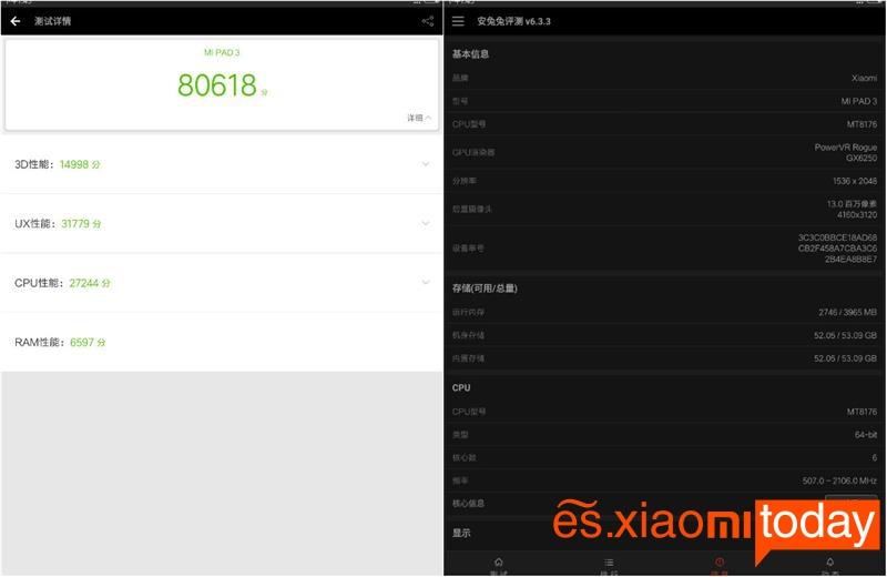 Xiaomi Mi Pad 3 en AnTuTu