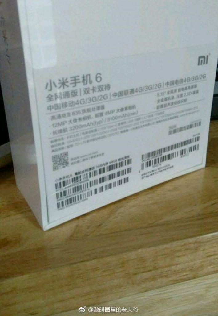 Xiaomi Mi6, se filtra su caja - Versión base