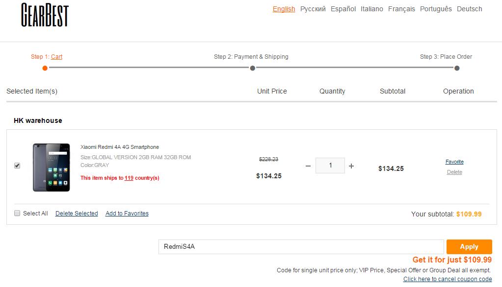 Xiaomi Redmi 4A coupon
