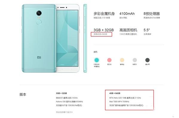 Xiaomi Redmi Note 4X Versión superior avistada en TENNA