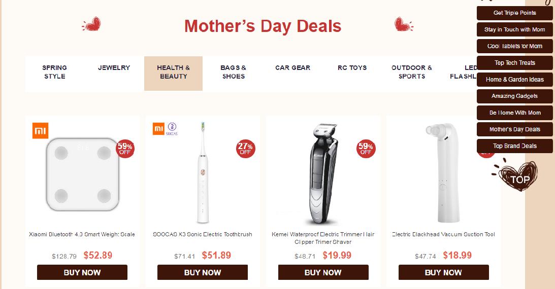 Gearbest ofertas del día de la madre