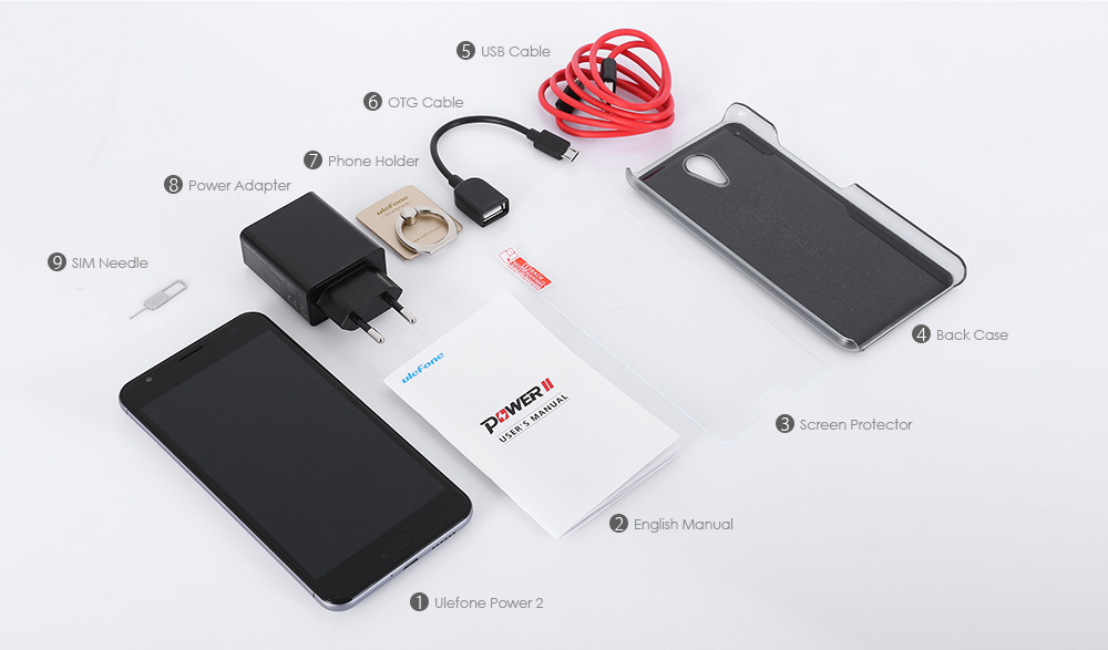 Ulefone Power 2 contenido de la caja
