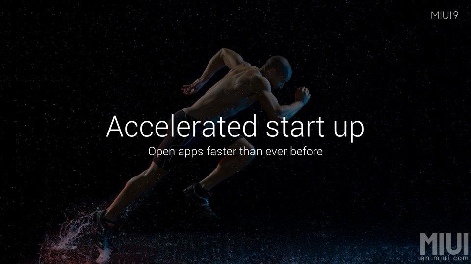 Características de MIUI 9 - velocidad de lanzamiento de las aplicaciones