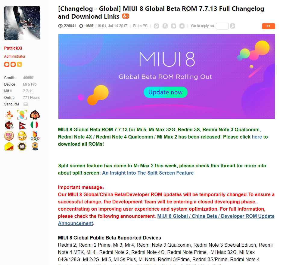 Beta Global de MIUI 8 ROM 7.7.13 Descarga y lista de Cambios