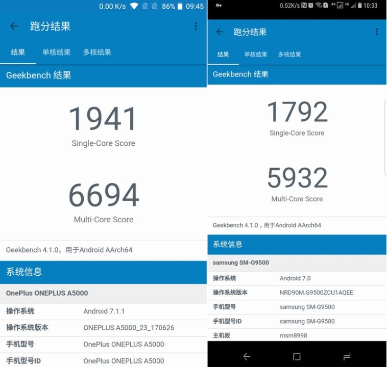 OnePlus 5 vs Samsung Galaxy S8 Geekbench