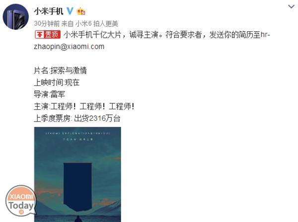 Post reclutamiento Xiaomi