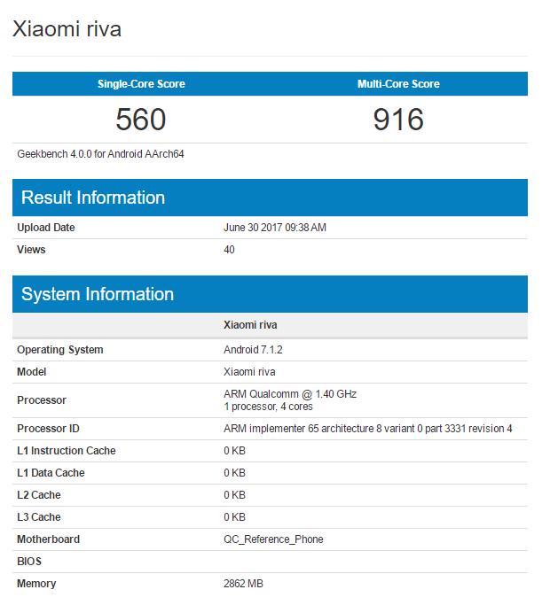 Xiaomi Riva resultados