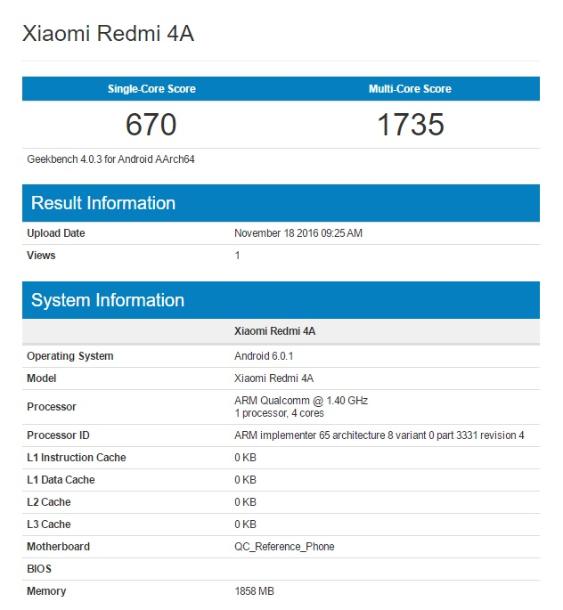 Xiaomi Riva resultados del xiaomi redmi 4a