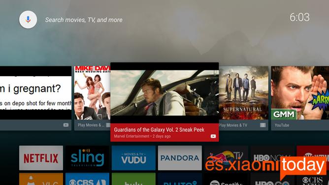 Xiaomi Mi 3S Smart TV Box Interfaz