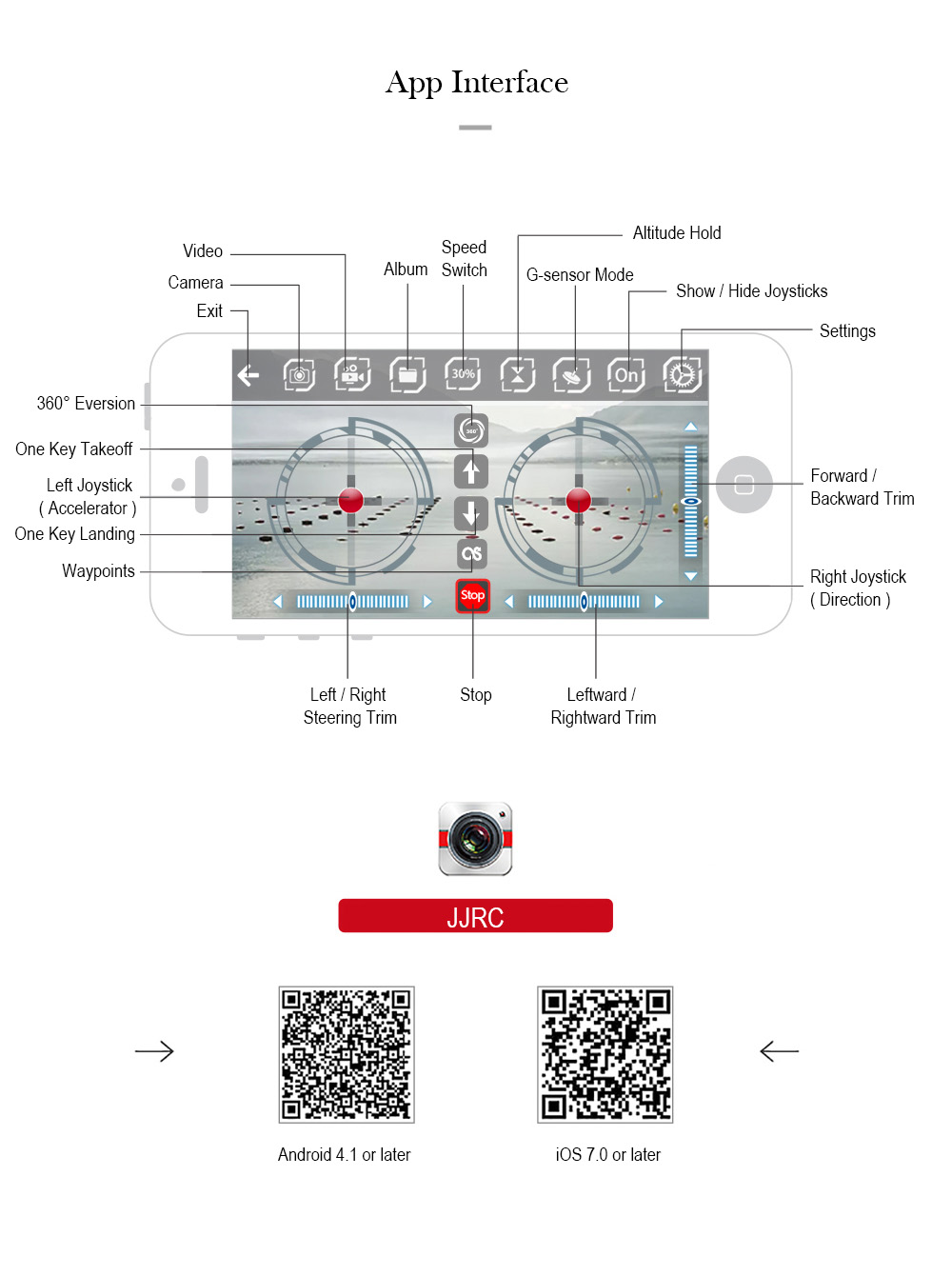 JJRC H37 interfaz de la APP