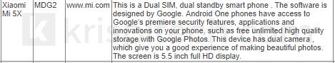Xiaomi Mi A1 características filtradas
