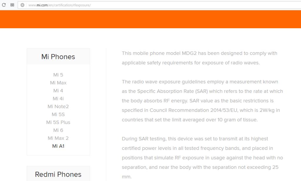 Xiaomi Mi A1 nombre registrado
