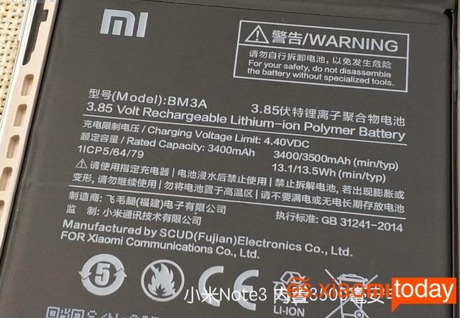 Xiaomi Mi Note 3 batería