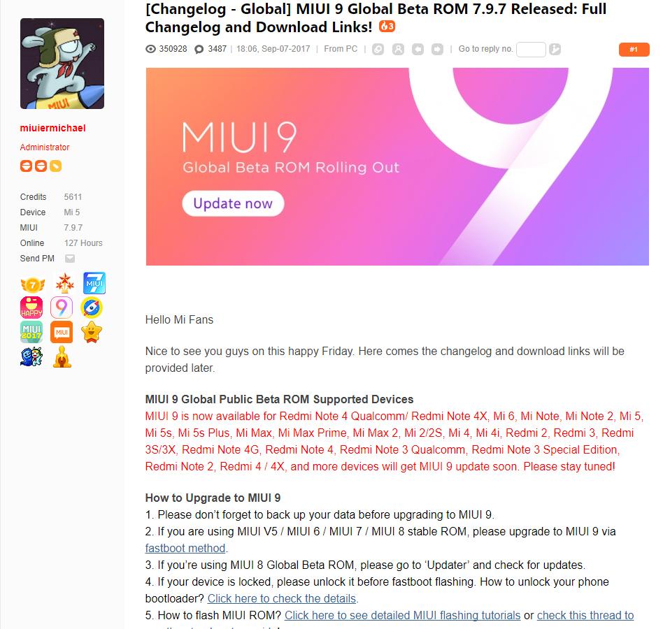Beta Global de MIUI 9 ROM 7.9.7