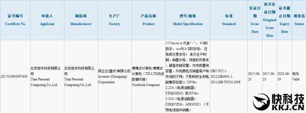 Nueva computadora portátil de Xiaomi especificaciones