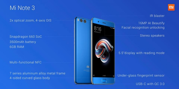 Xiaomi Mi Note 3 características