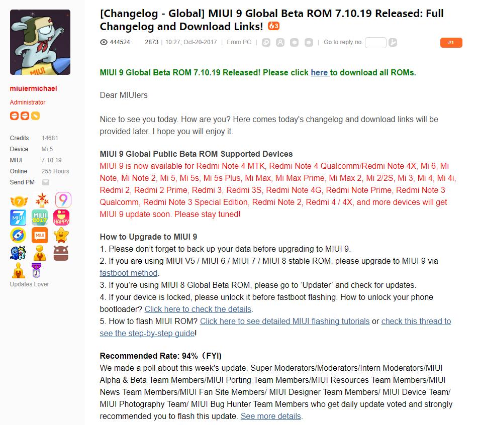 Beta Global de MIUI 9 ROM 7.10.19: Lista de cambios y enlaces de descarga