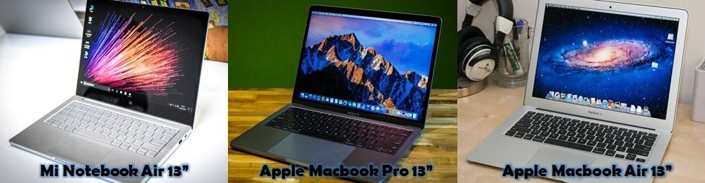 Mi Notebook Air 13 vs Macbook Air vs Macbook Pro