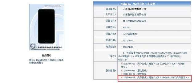 Xiaomi Mi 6C Hoja de especificaciones Tenna