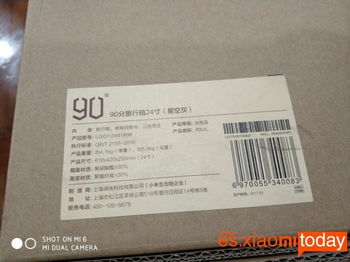 Xiaomi 20 inch Metal Travel Suitcase caja parte posterior
