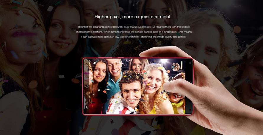 Elephone S8 versión en rojo cámara