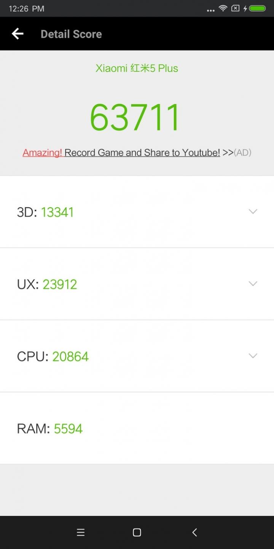 Xiaomi Redmi 5 Plus rendimiento