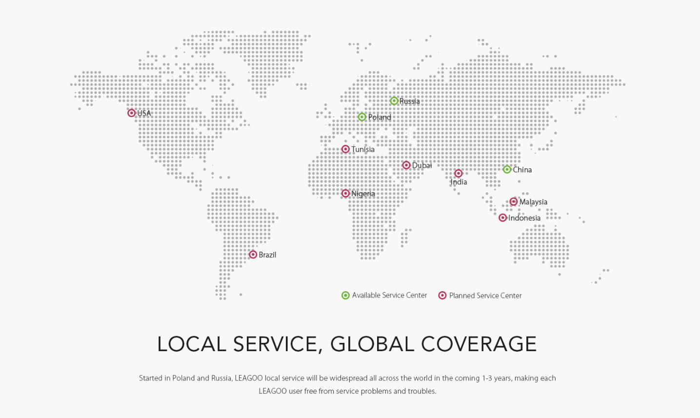 Servicio global de Leagoo