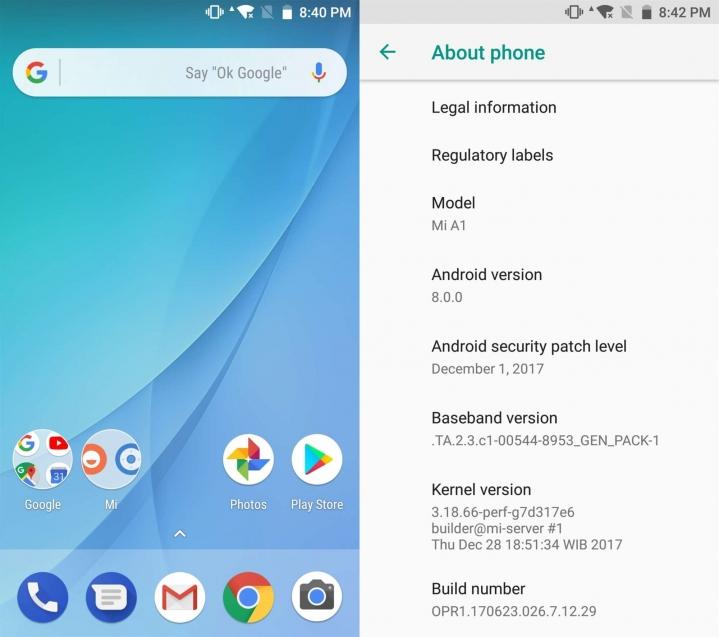 Llegó al Xiaomi Mi A1 la actualización estable de Android 8.0 Oreo