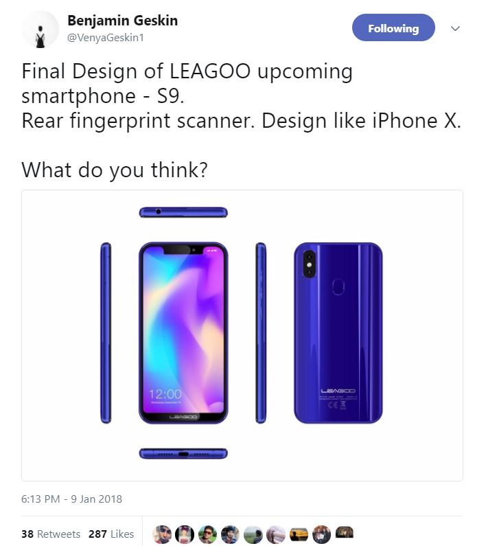 Noticia Leagoo S9 - Publicación en Twitter