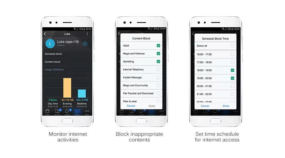 Router inalámbrico inteligente ASUS Blue Cave - Aplicación móvil