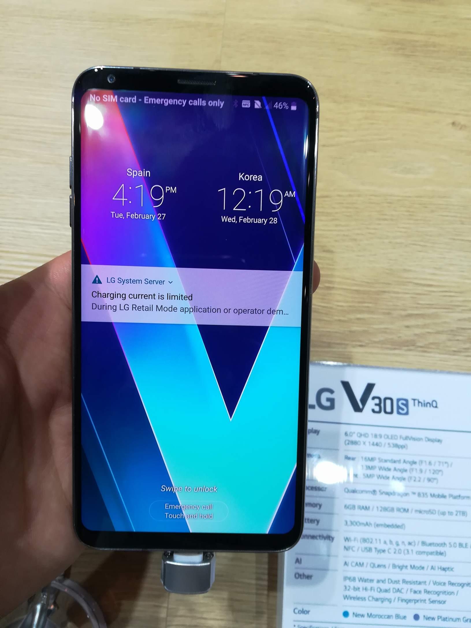 El LG V30S THINQ se deja ver en el MWC 2018