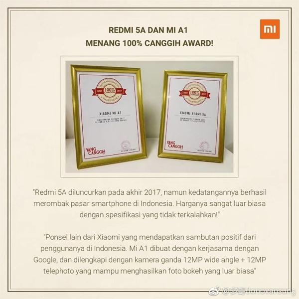 El Xiaomi Redmi 5A y el Mi A1 ganan premio en Indonesia