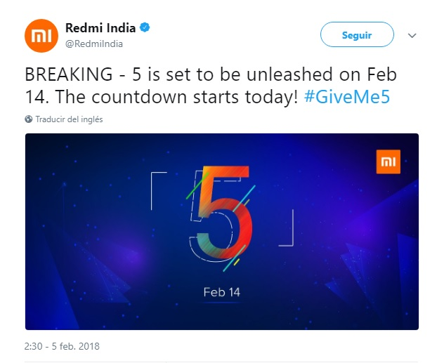 """El misterioso """"5"""" de Xiaomi será lanzado el 14 de febrero en India - Anuncio Twitter"""