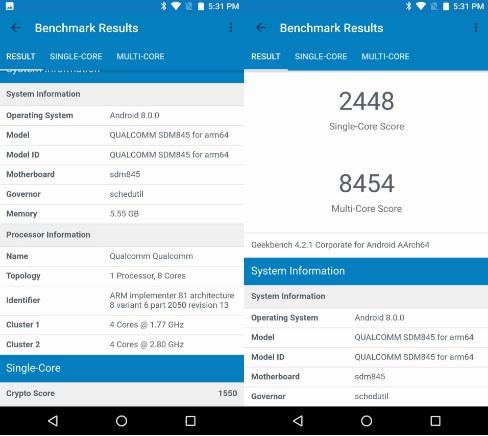 Snapdragon 845 - Pruebas comparativas