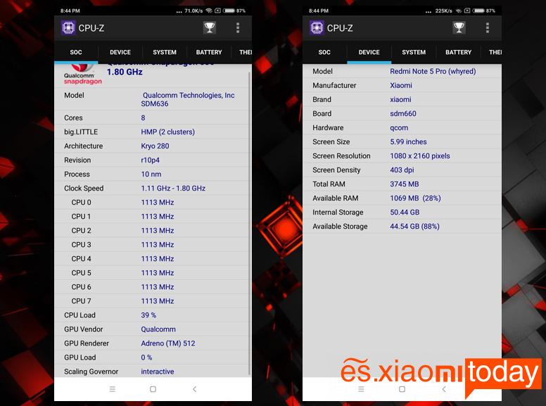 Xiaomi Redmi Note 5 Pro Análisis - Hardware y rendimiento