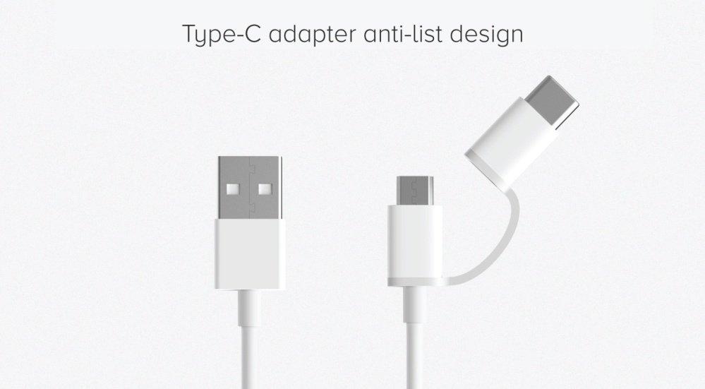Xiaomi Mi Cable 2 en 1 - Puerto micro USB + Puerto USB tipo C