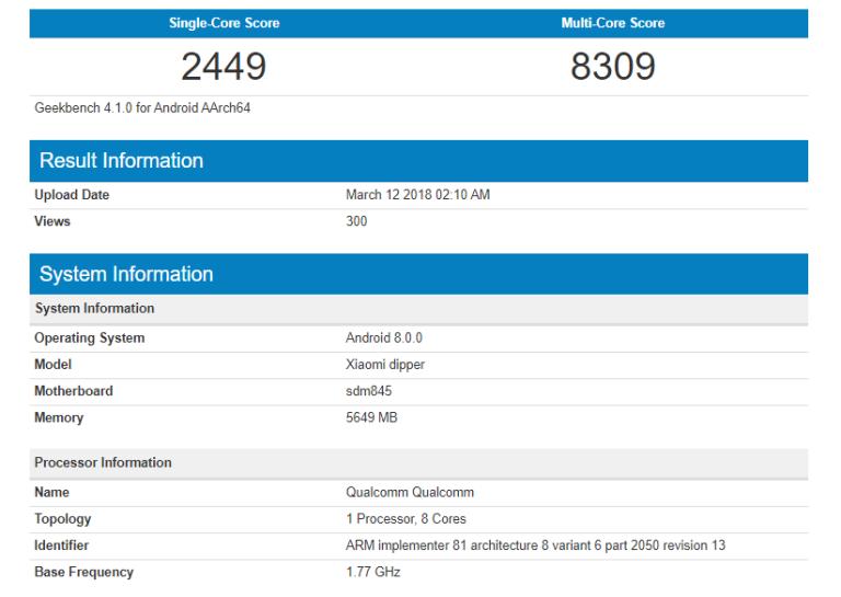 Xiaomi Mi 7 GeekBench puntuación