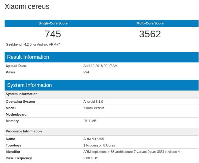 Xiaomi Cereus detectado en GeekBench