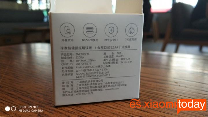 Xiaomi mijia Smart socket caja parte posterior